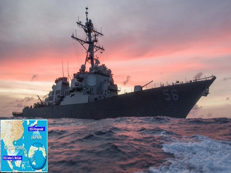 مفقود شدن ۱۰ ملوان آمریکایی در برخورد ناوشکنشان با یک نفتکش