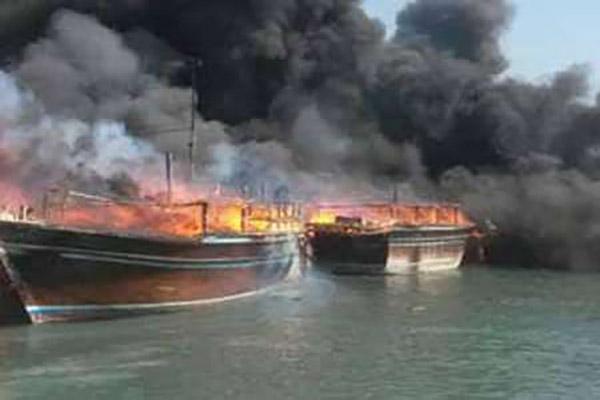 70 میلیارد ریال خسارت آتش سوزی در اسکله کنگان بوشهر
