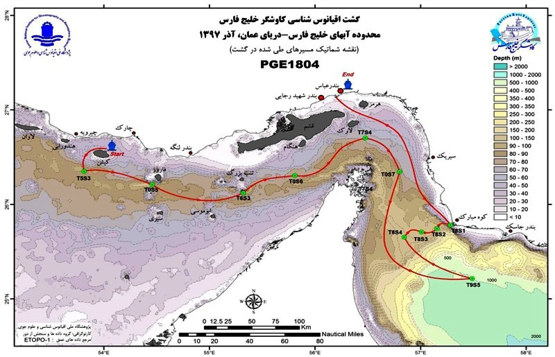 نمونه برداری از عمق بیش از هزار متری دریای عمان